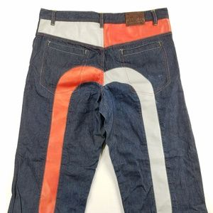 Evisu Genes Relaxed Baggy Jeans Faux Leather Denim